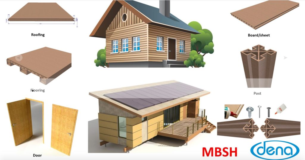 Illustration of various building materials produced with crumb rubber